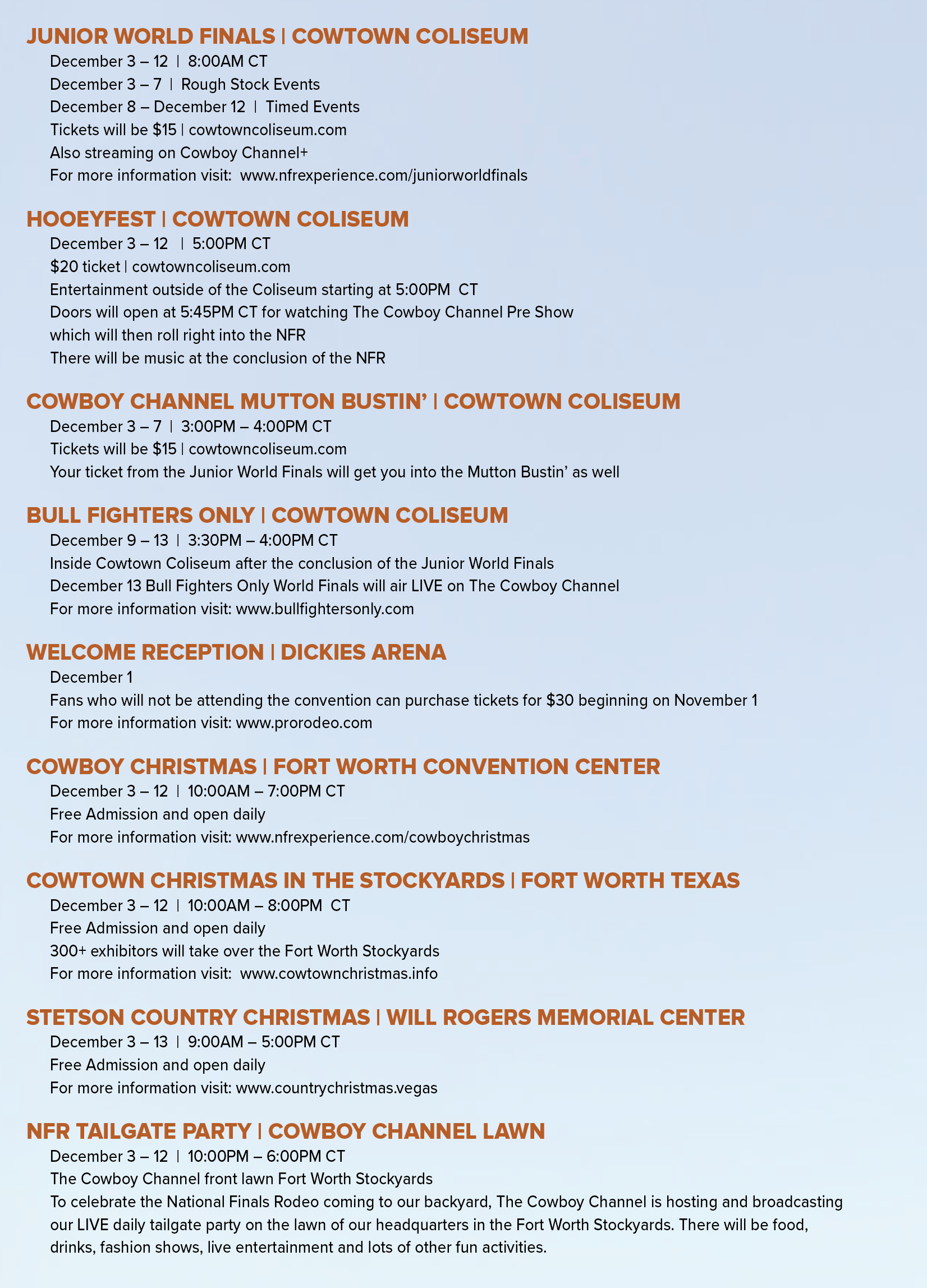 Fort Worth Christmas Party 2020 NFR 2020 Events Schedule: Fort Worth Stockyards   The Cowboy Channel